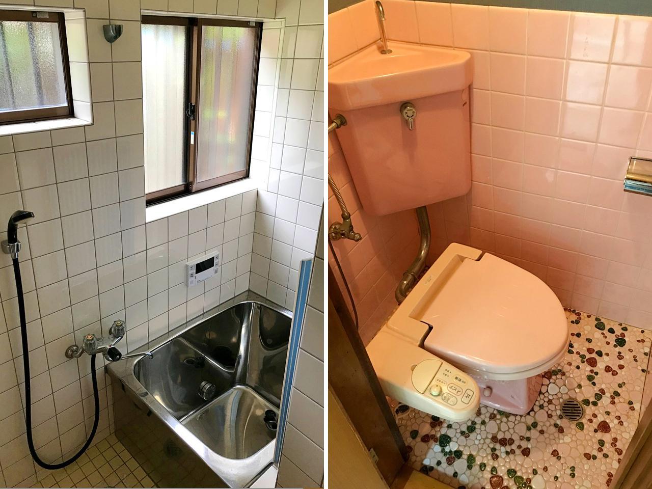 浴室とトイレは既存のものですが、給湯器は替えて追焚もできます