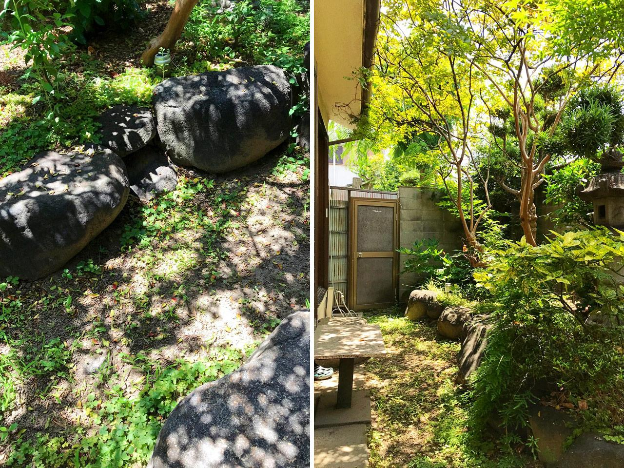 (左)木漏れ日が宝石のように輝きます (右)西側からみた庭の全景