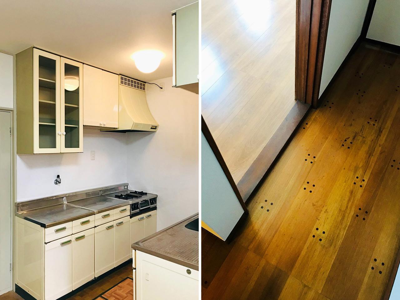 レトロなキッチン(左)とめずらしい床材(右)