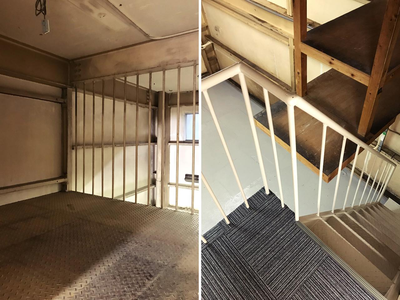 檻のような収納(左)と、1階への内階段(右)