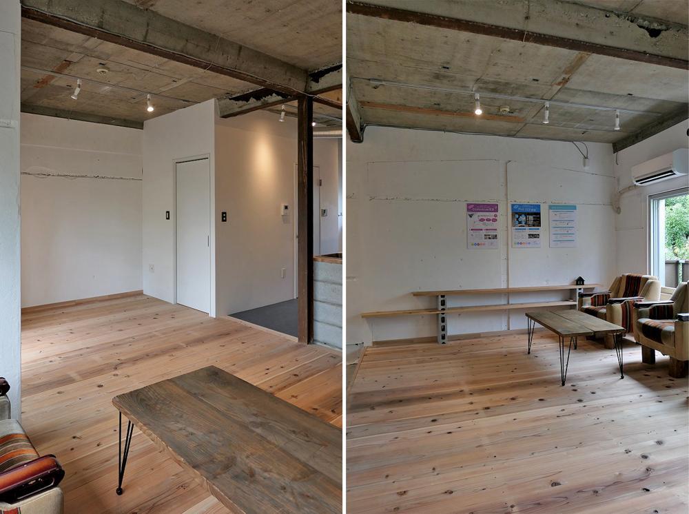 足場板のフローリングと白塗装壁、天井のコンクリートがいいコントラスト
