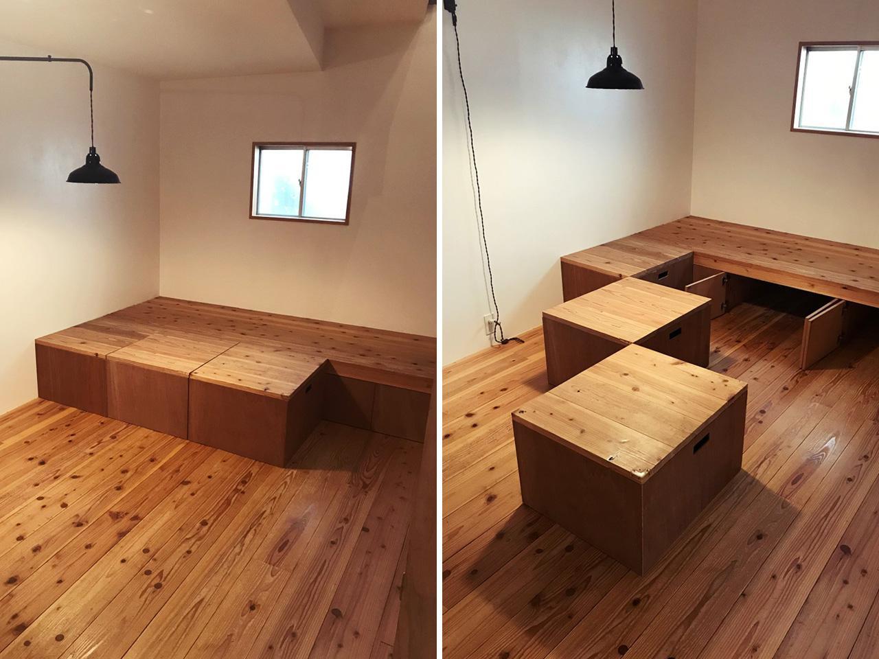 小上がりの床でもあり、自由に動かせる収納でもあります!
