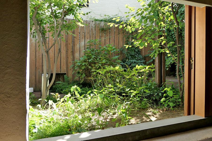 アトリエスペースから中庭を望む