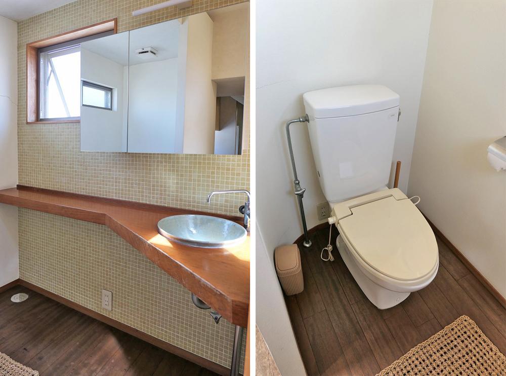 (左)洗面コーナー、(右)トイレ