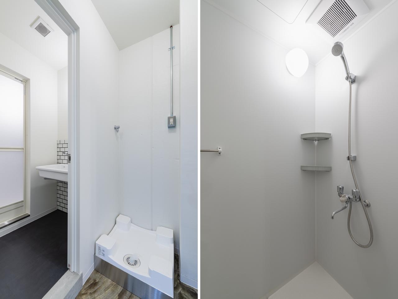 共用のシャワールーム・洗濯機もあります(写真は洗濯機設置前)