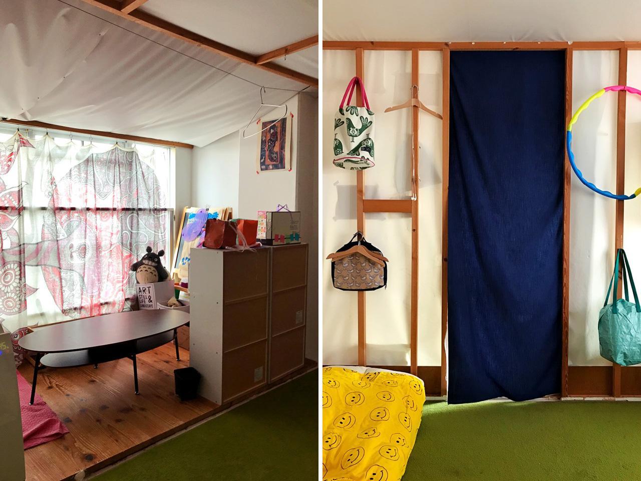 あとから作ったという個室。壁はテントにも使われる素材