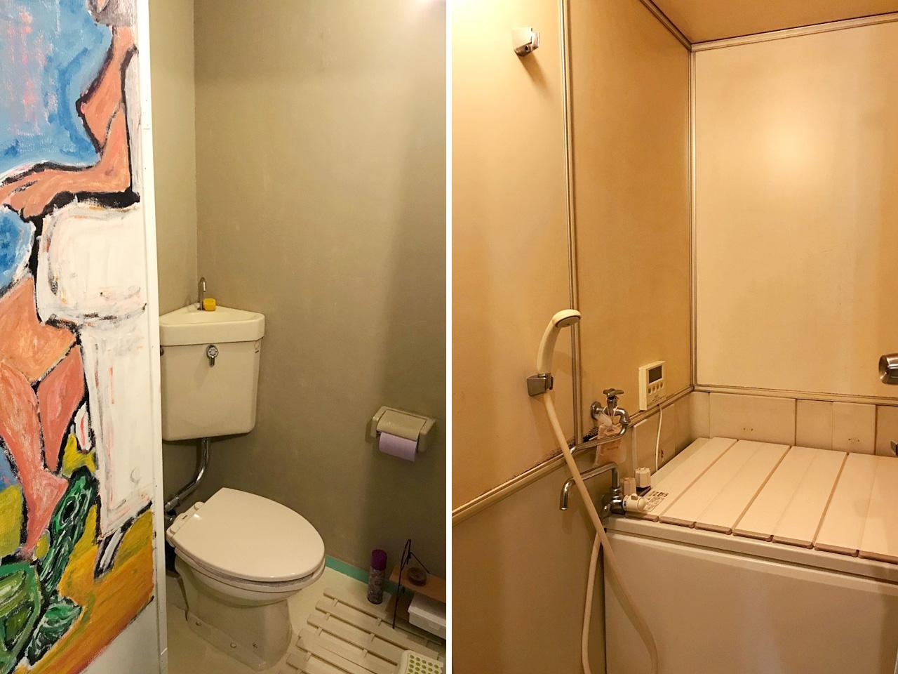 水回りは築年相応のもの(トイレ内に手描きの絵!)
