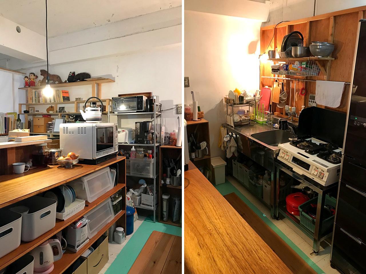 キッチン。当初は天井まで壁のあるこもれる空間だったそう