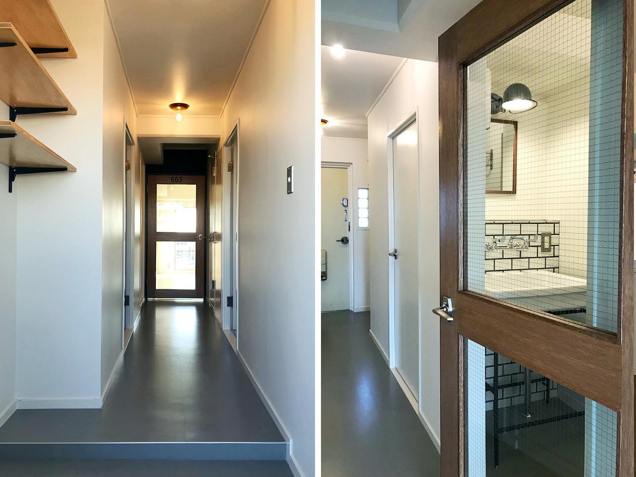 (左)玄関からの風景 (右)廊下はリビングと同じ素材で統一
