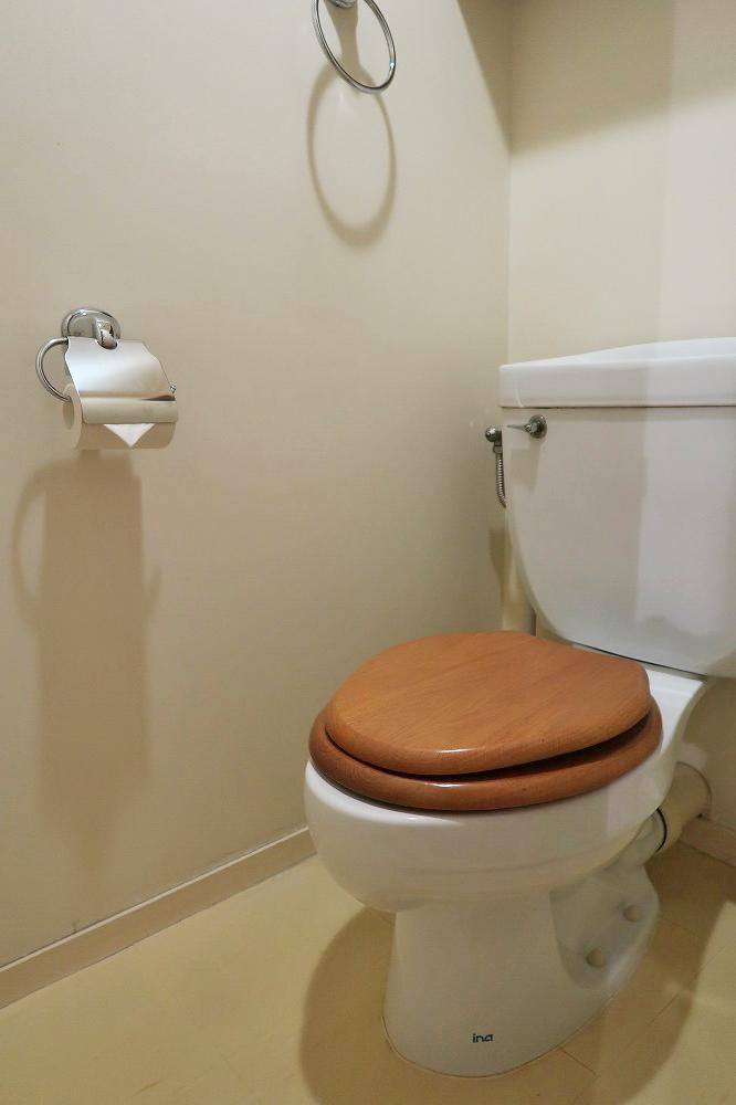 木製便座がかわいいトイレ