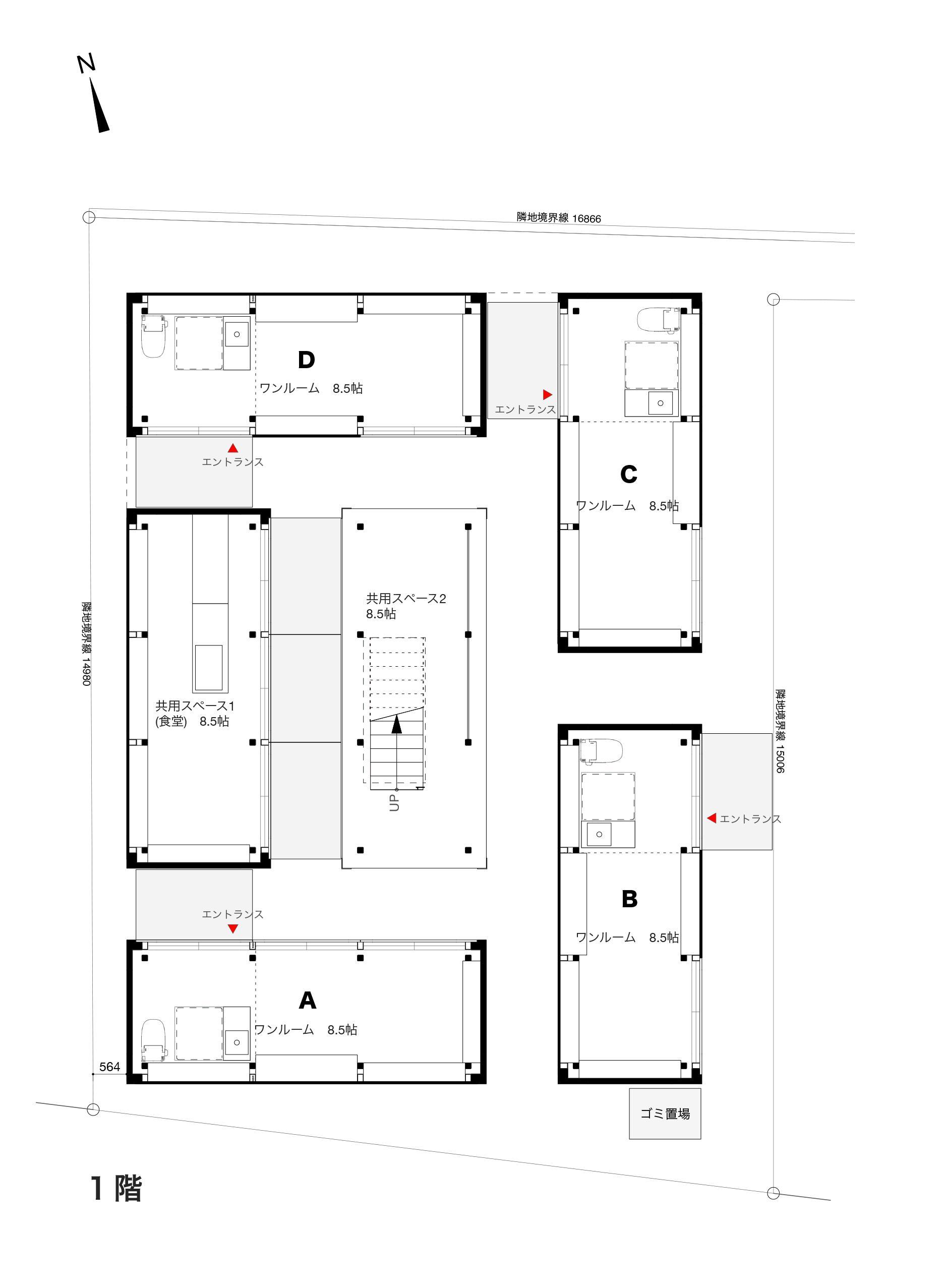1階の詳細な見取り図