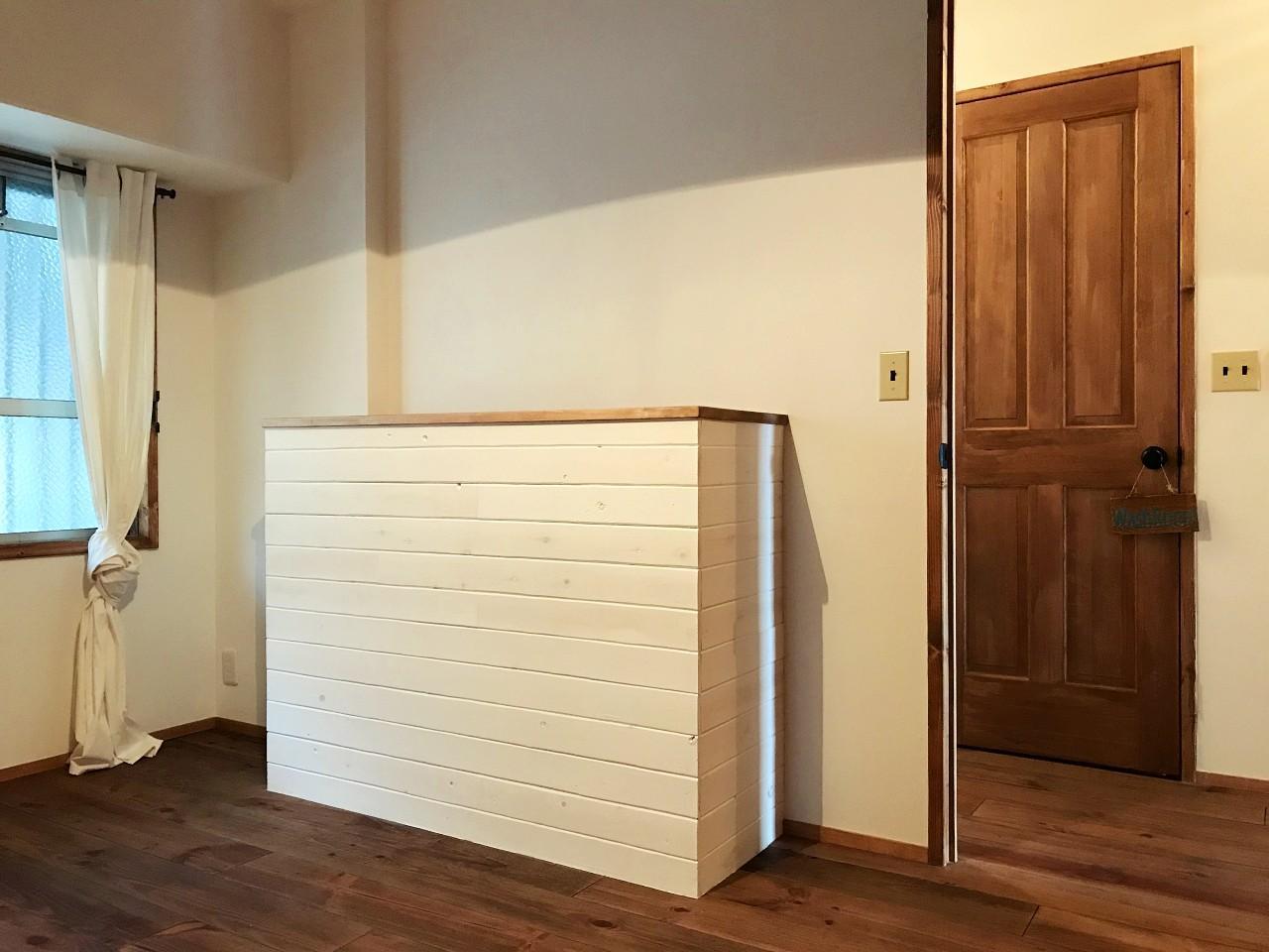 玄関側のシューズボックスを棚にアレンジ