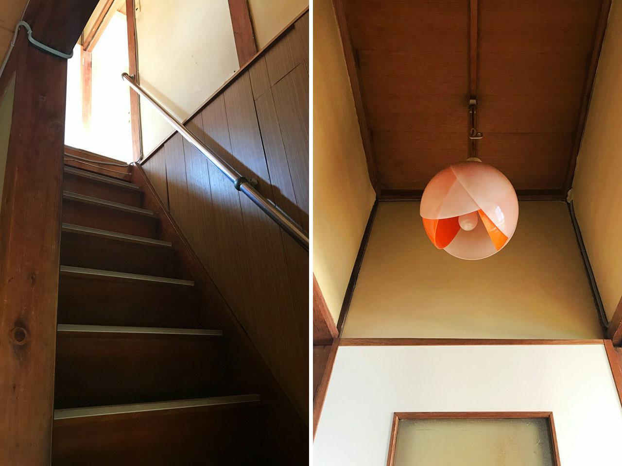 階段の先にはチューリップのような照明!ぜひ使ってください