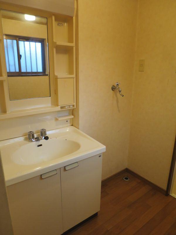 洗面所。洗面台と洗濯機が近いのは何かと便利