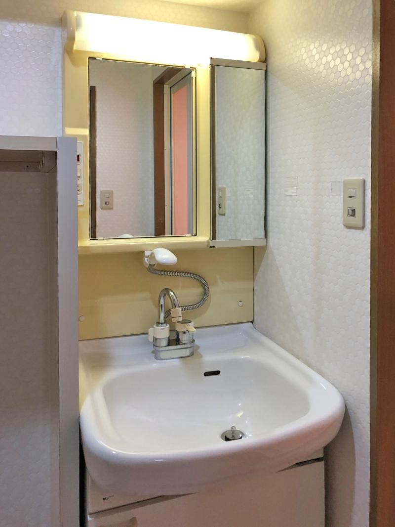 洗面台の横にはタオルを置けそうな棚があります
