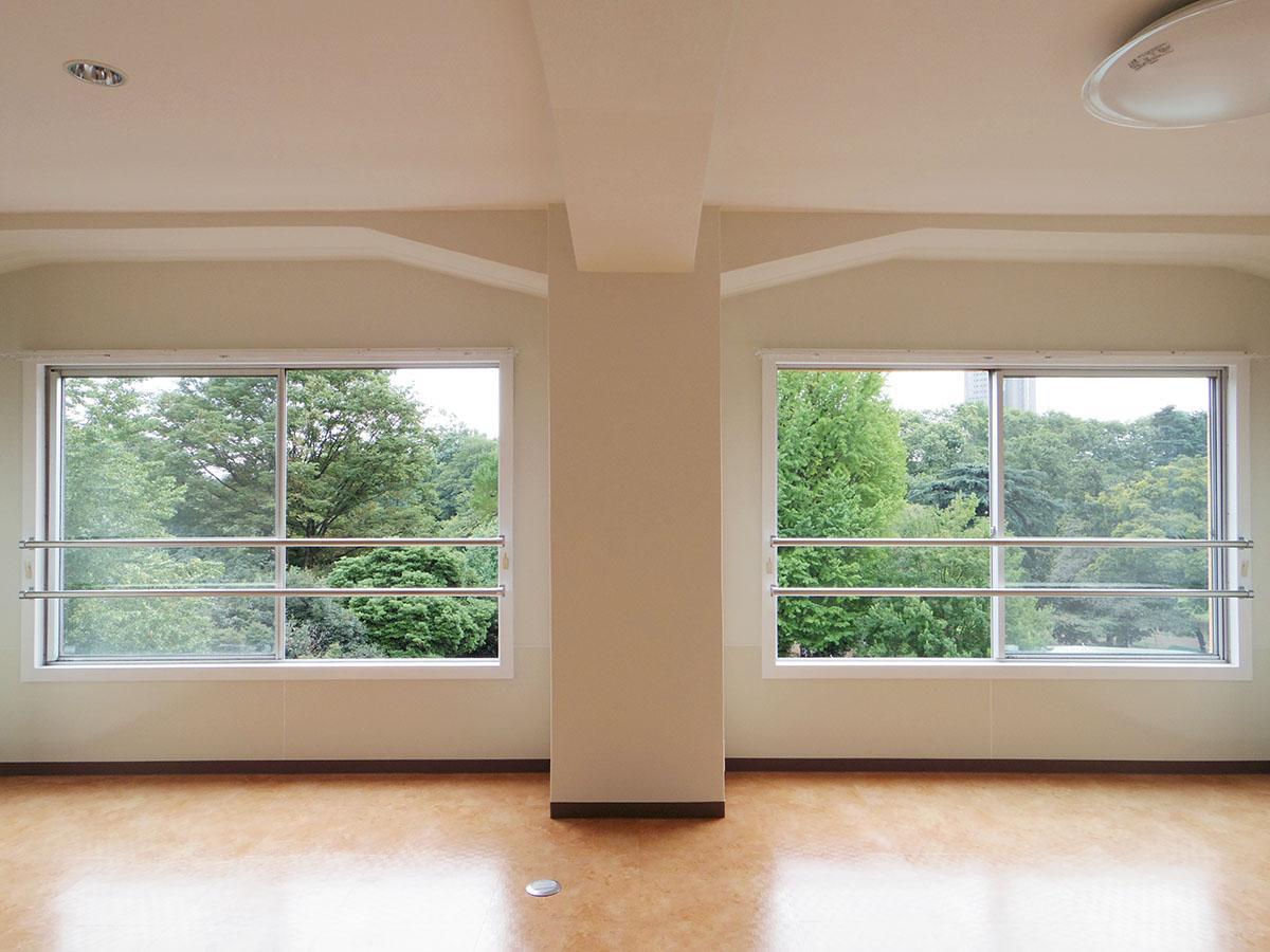 ワイドな窓の先にはひたすら緑と広い空