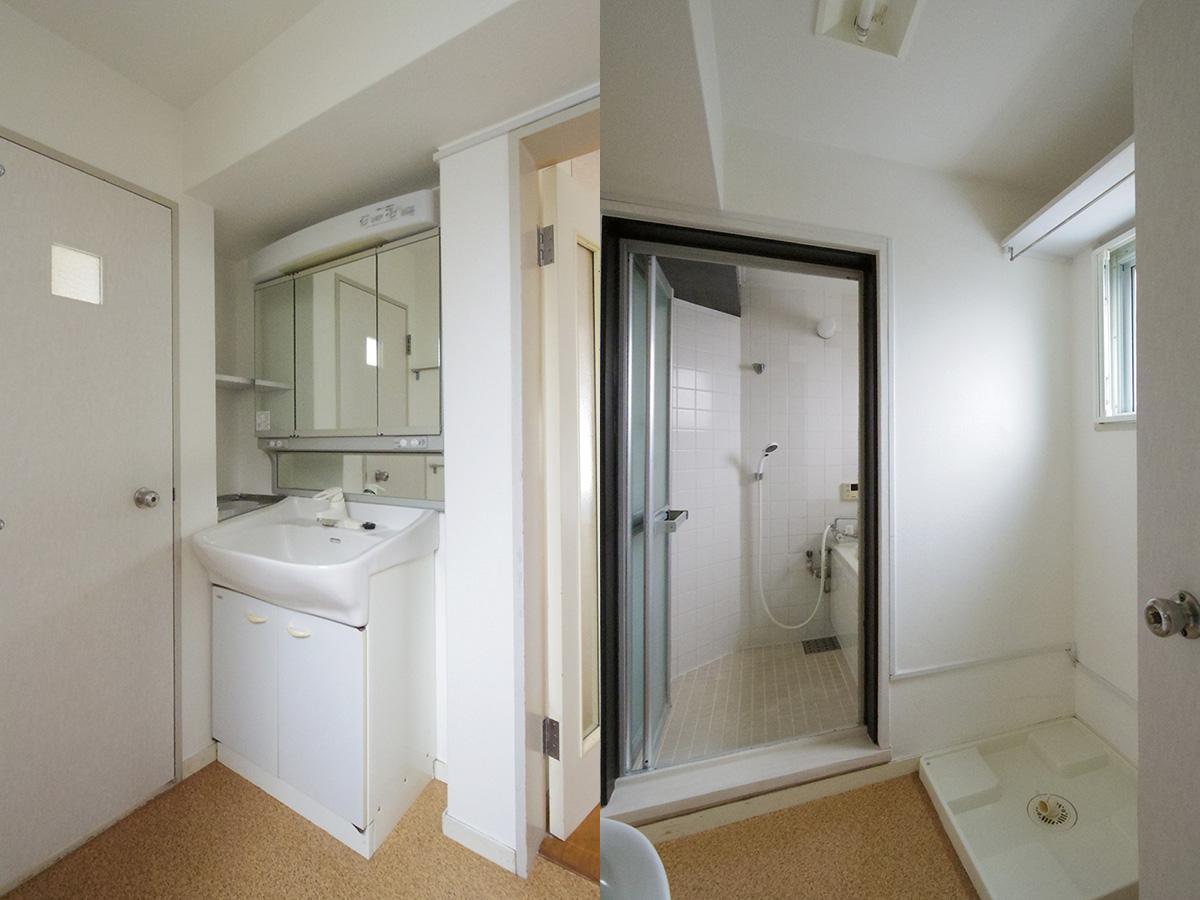 サニタリー。洗面の奥がトイレ