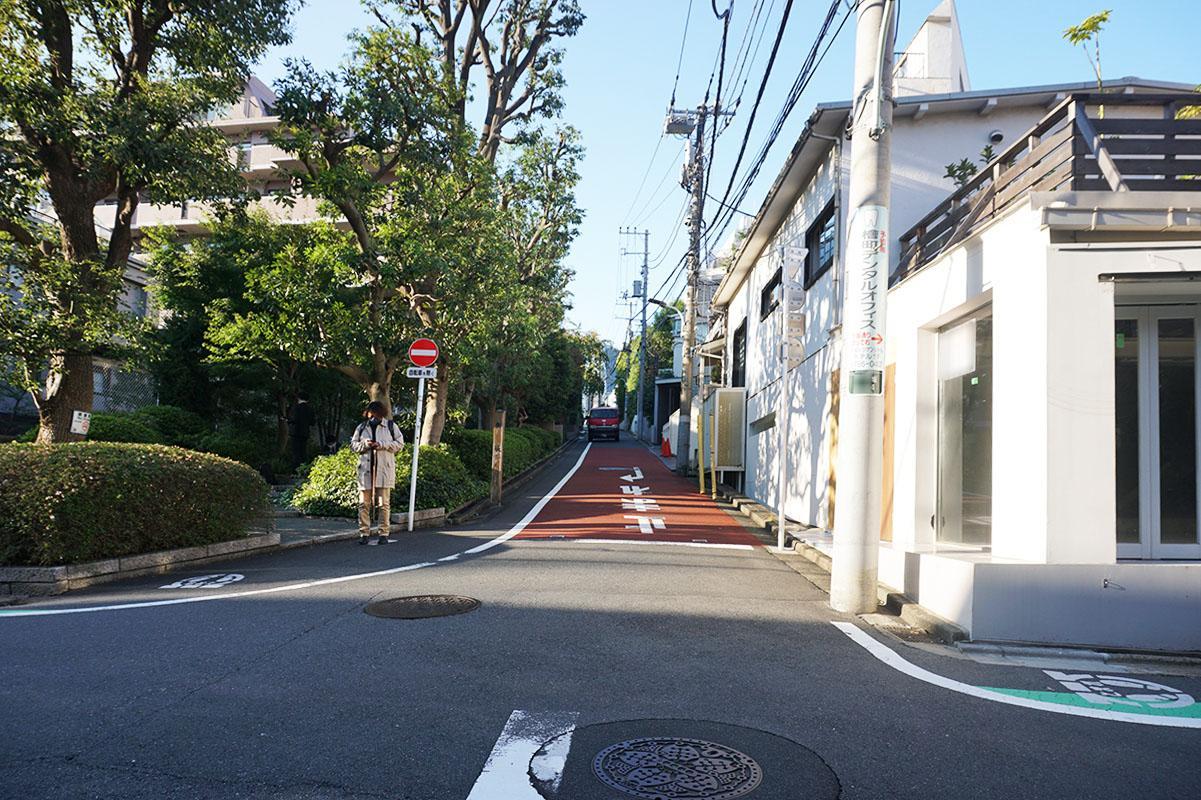 「新坂」のゆるい傾斜に立っている。左手の緑は隣の大きなマンションのもの