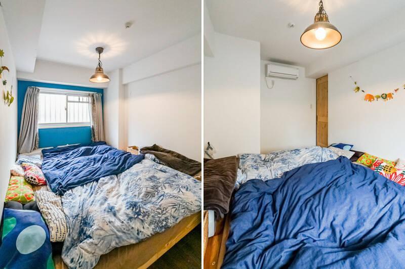 寝室の壁面もリビングと同じ青で統一