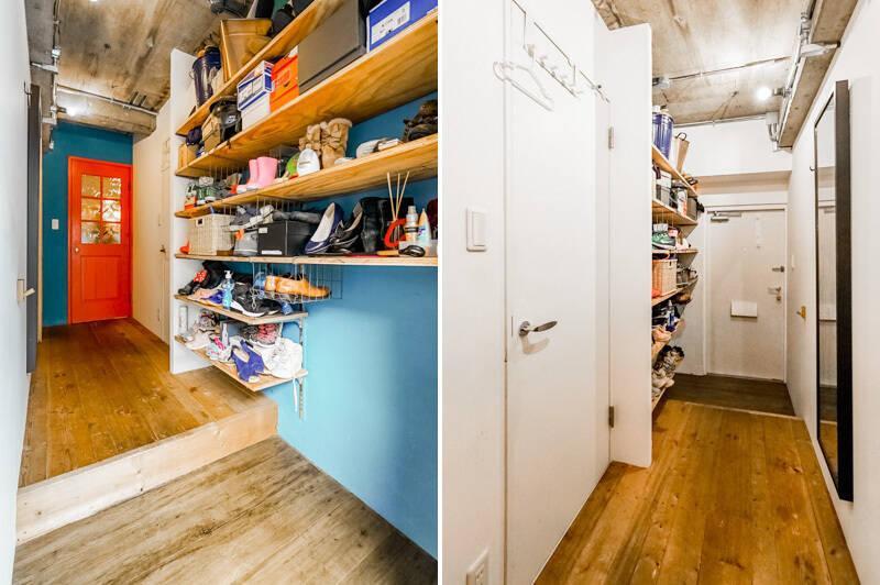 靴好きな方にはたまらない、オープンな玄関収納