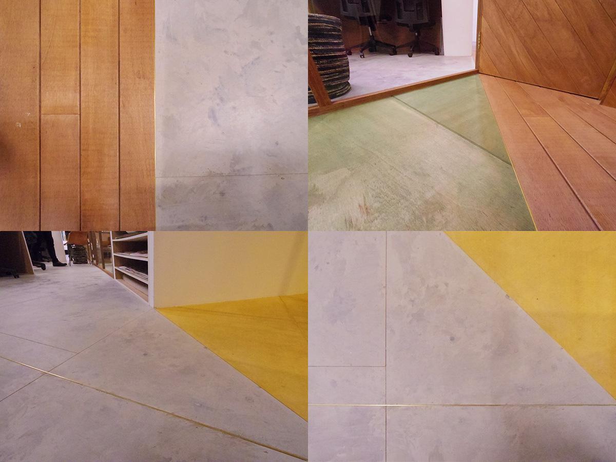 実験的な仕上げをしたラワン合板の床