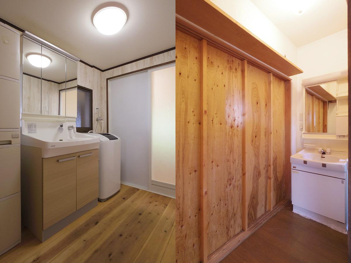 左:サニタリー、右:玄関横の奥にも洗面がある