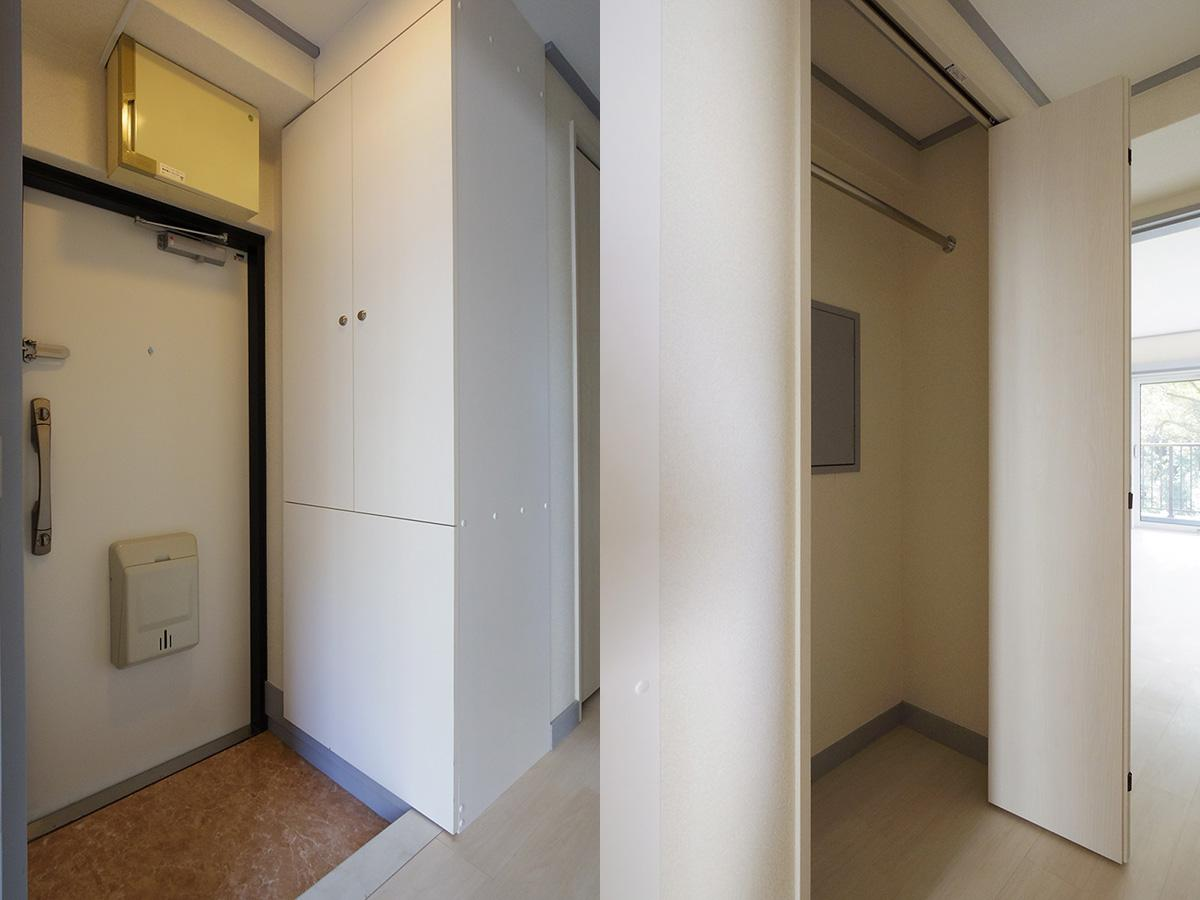 左:玄関スペース、右:クローゼット