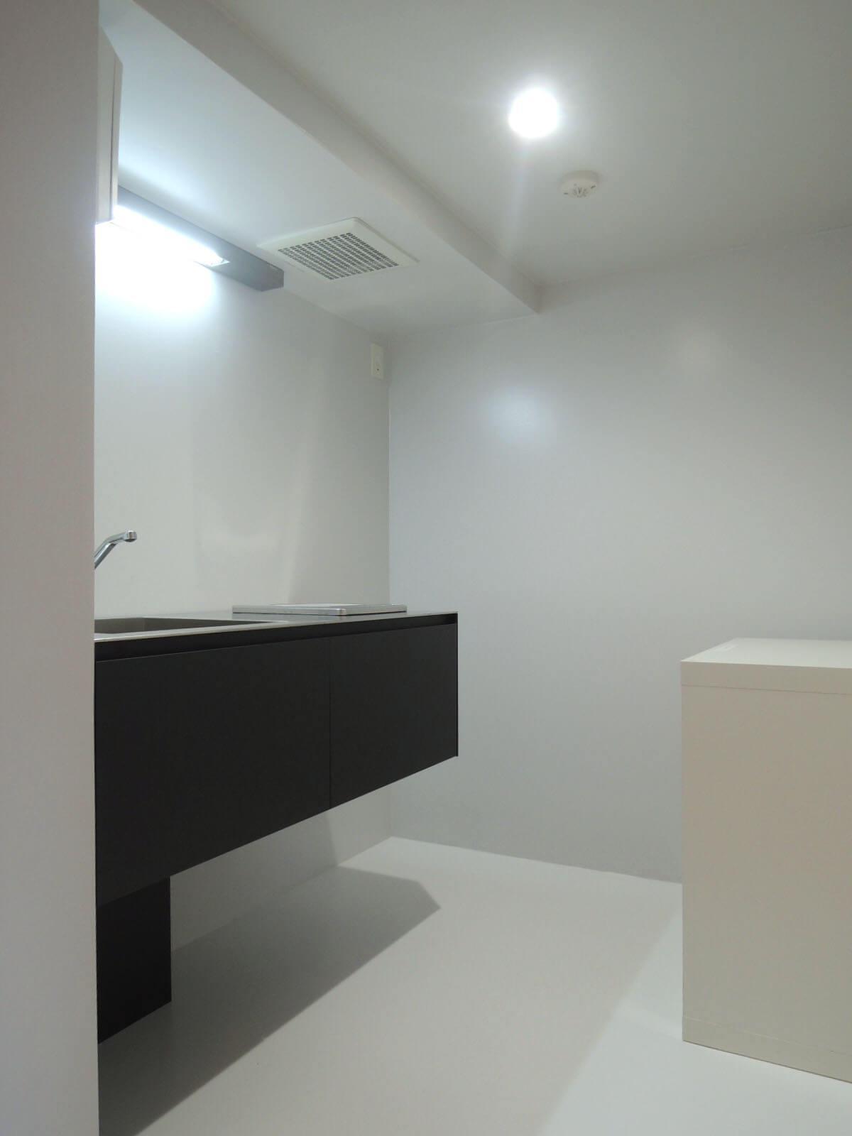 クールなキッチン、白い棚は備え付け