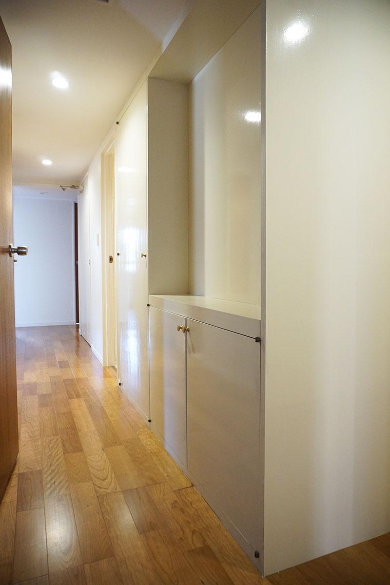 廊下と玄関はダウンライト。こちらの収納の裏側は玄関の靴箱