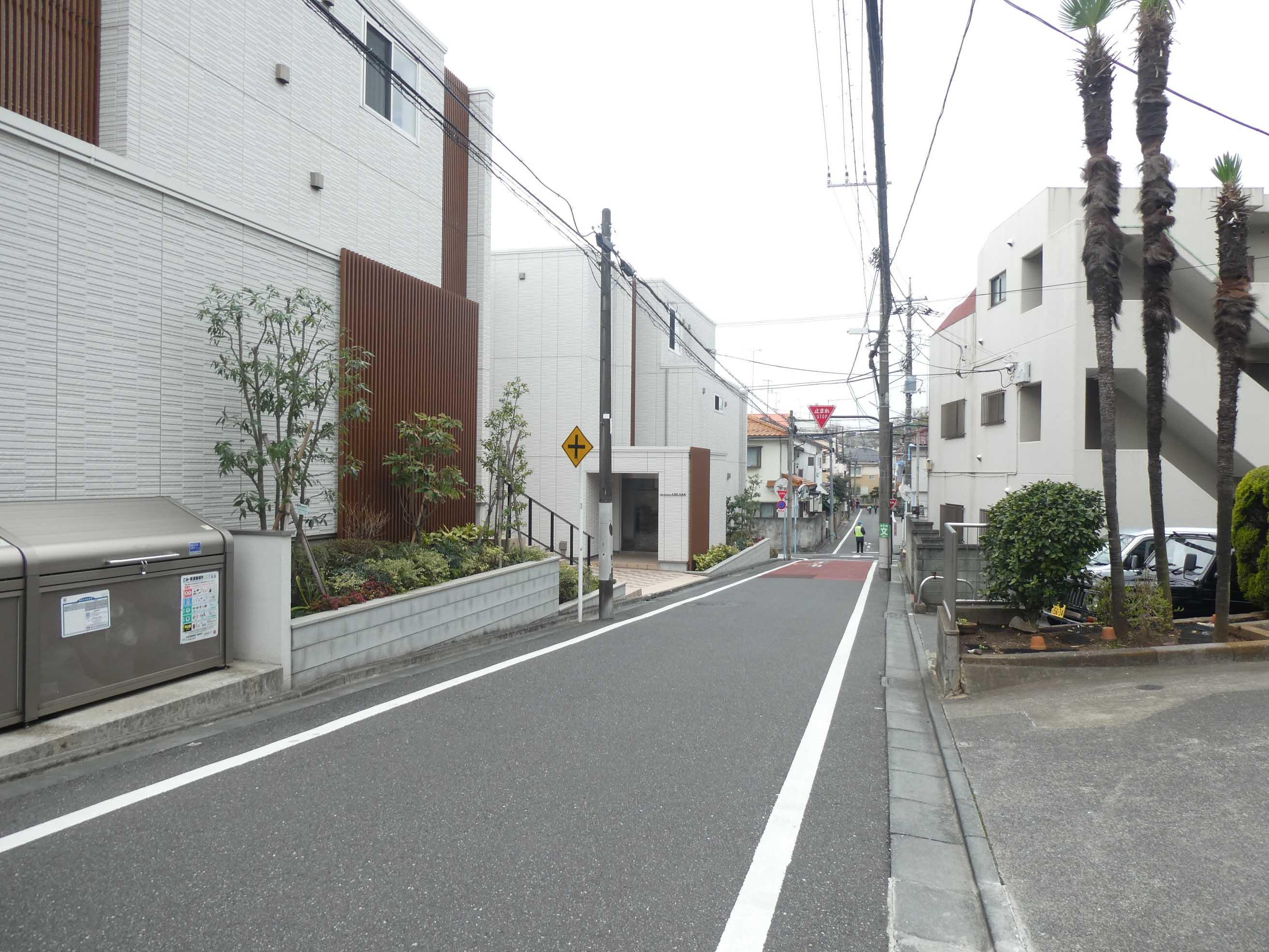前面道路。夕方は下校中の小学生が通ります