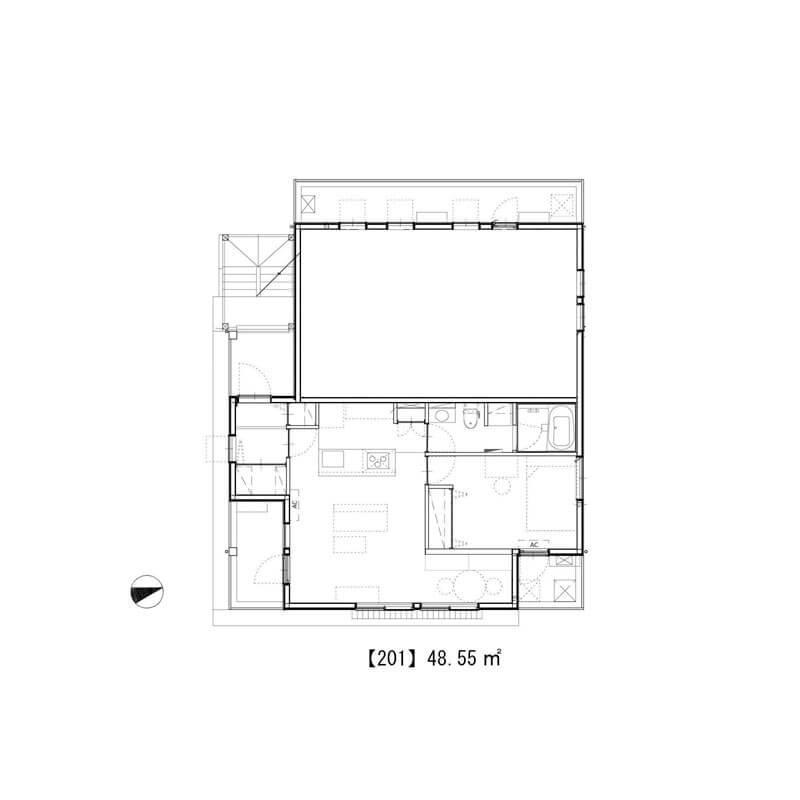 2階は住居が1区画、他は保育所とコワーキングスペースが入居中