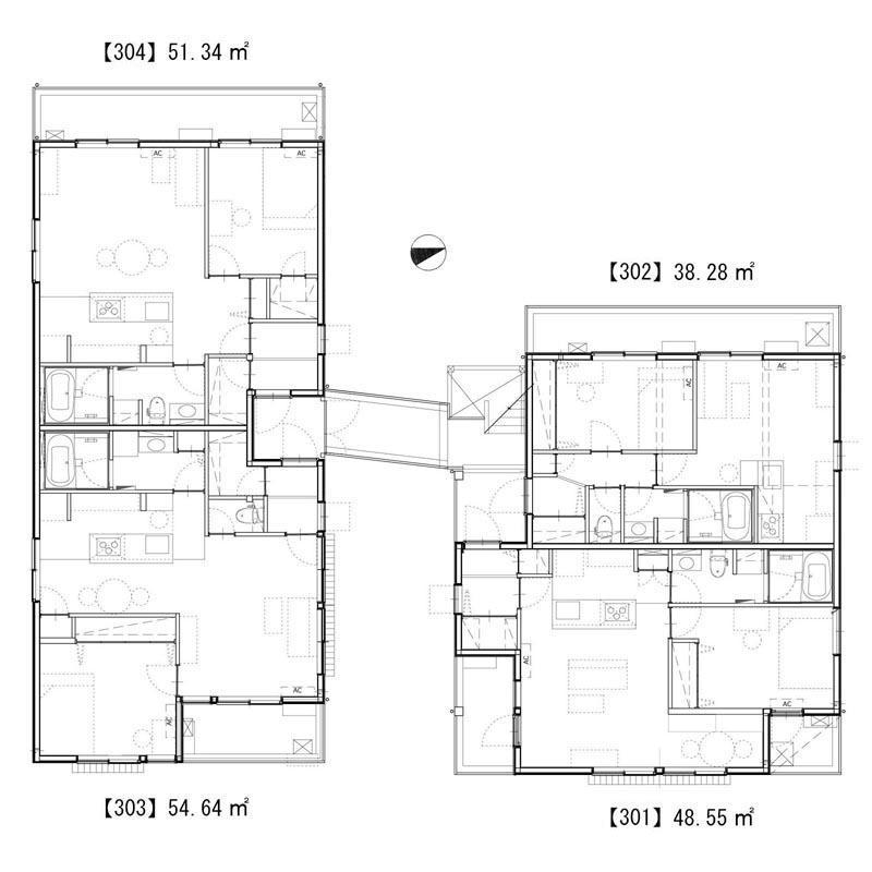 3階は4区画、2つに分かれた棟がブリッジで繋がる