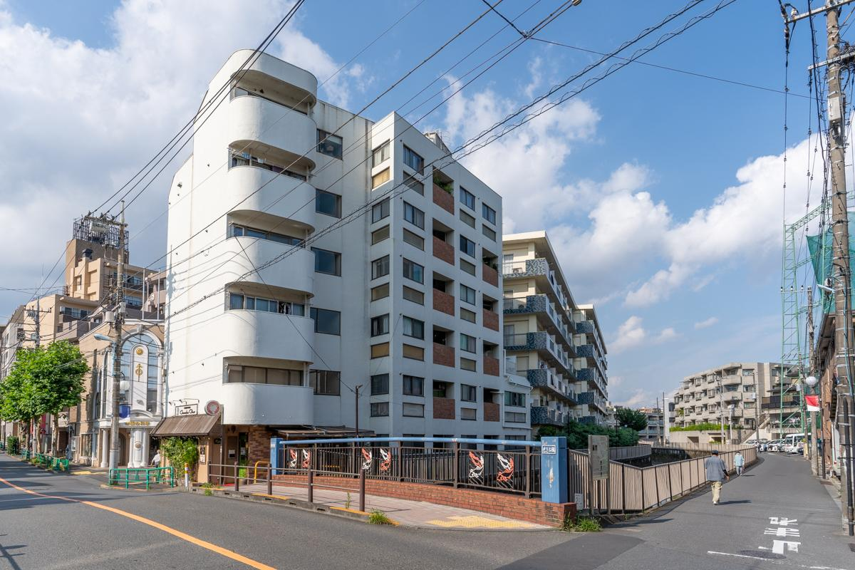 善福寺川の角地に立つマンションです