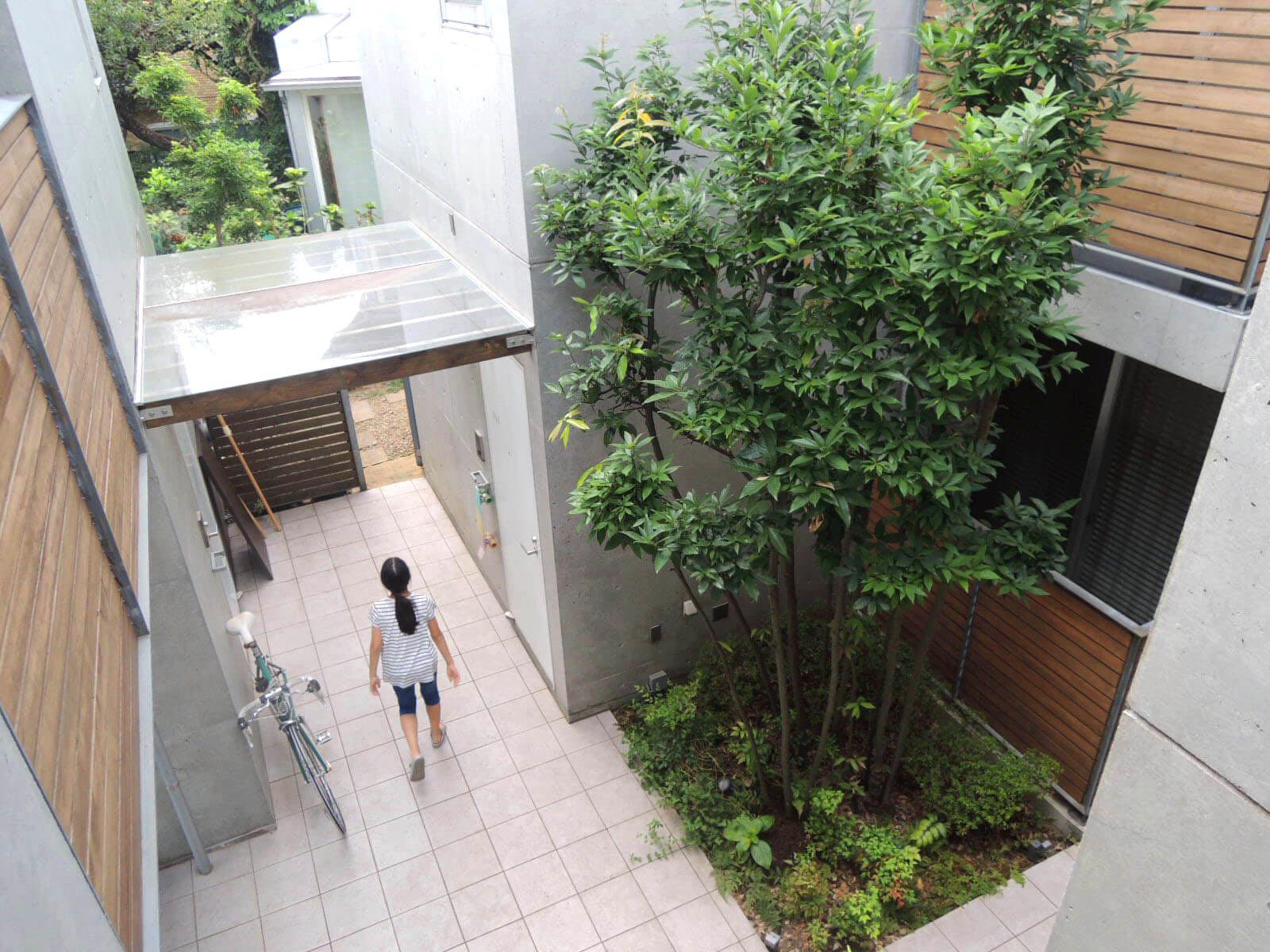植栽に守られた1階の部屋、敷地内は路地のよう