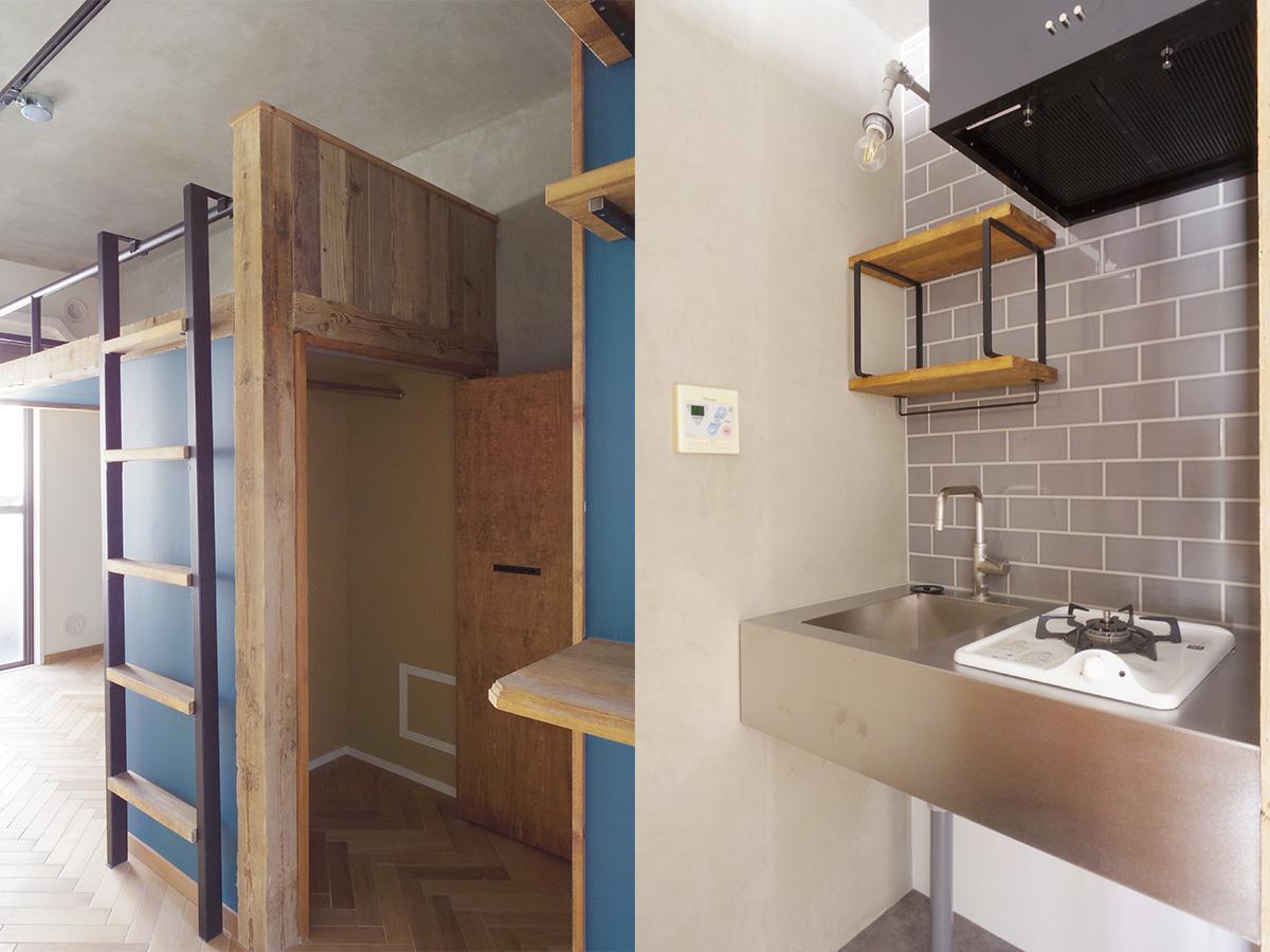 シンクコンロ下には小さい冷蔵庫なら設置可能。背面は扉付きの収納スペース