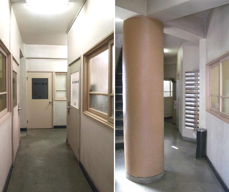 石張りの廊下、象徴的な円柱。