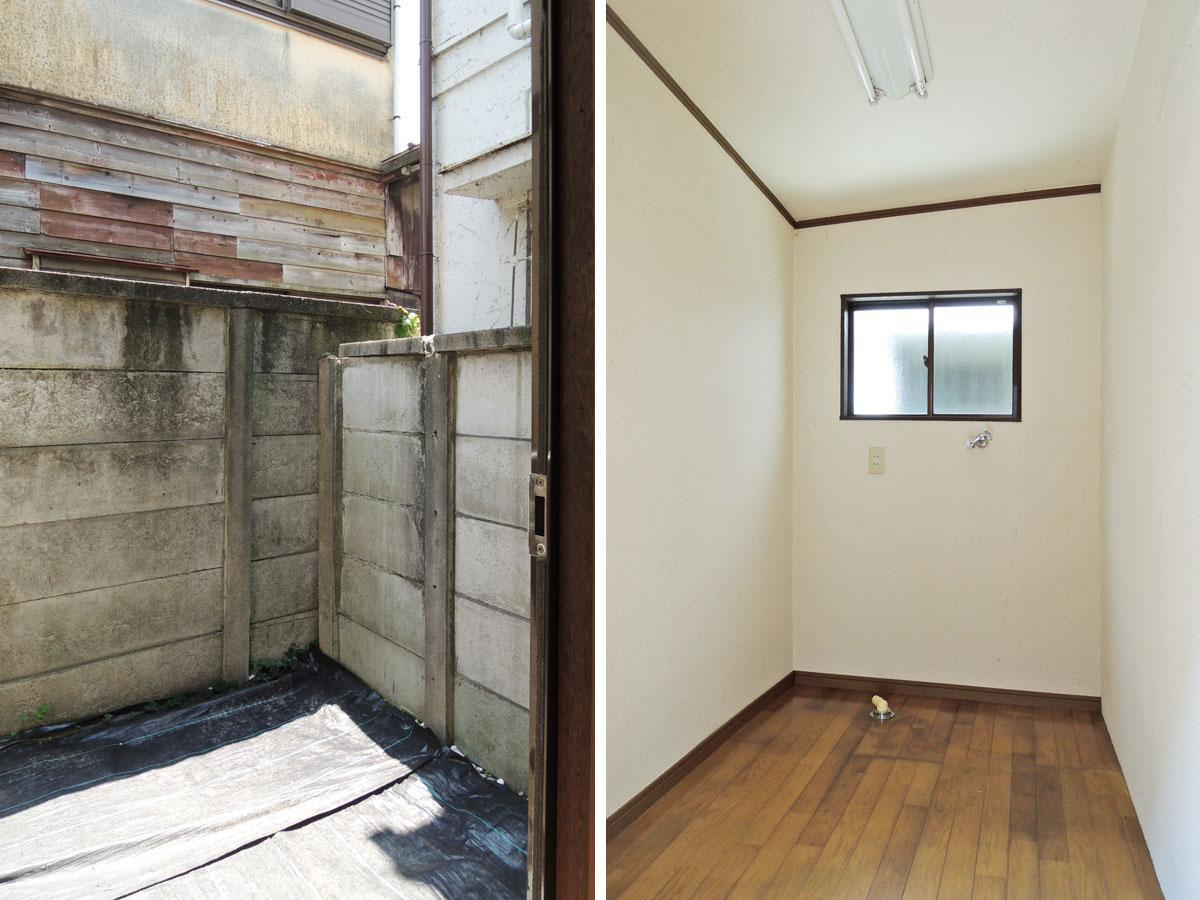 心ばかりの裏庭スペース/洗濯機を置く小部屋
