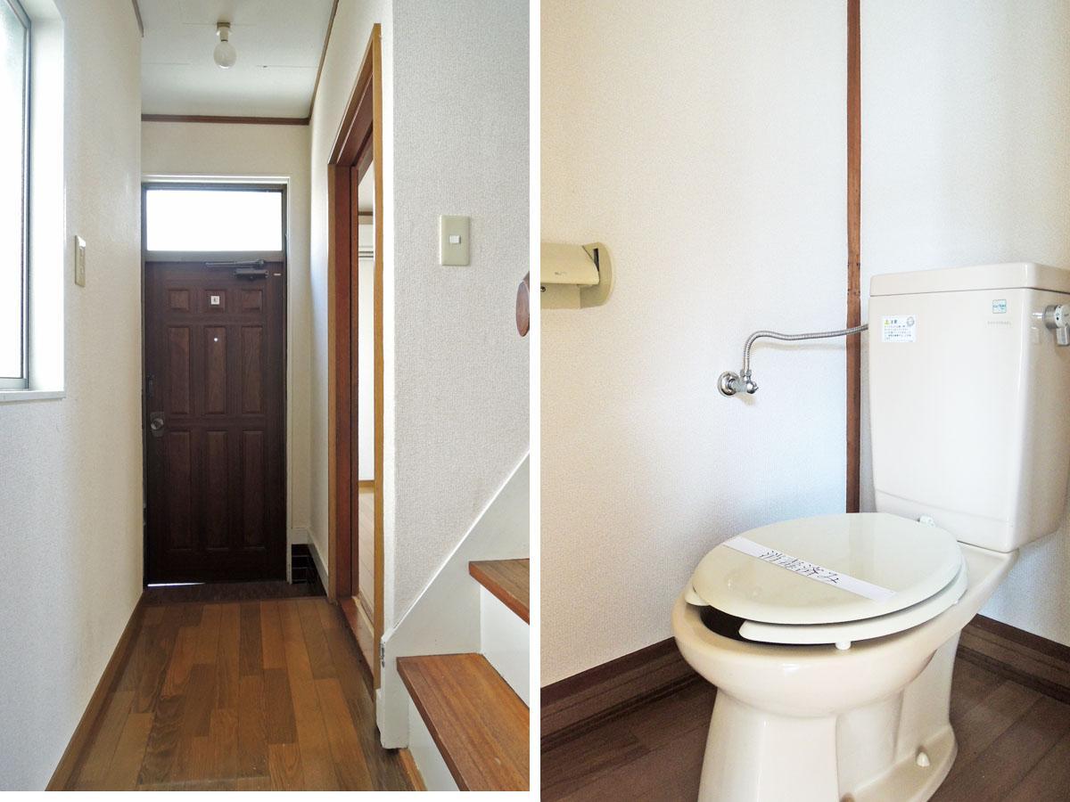 玄関から続く廊下/2階のトイレはウォシュレット無し