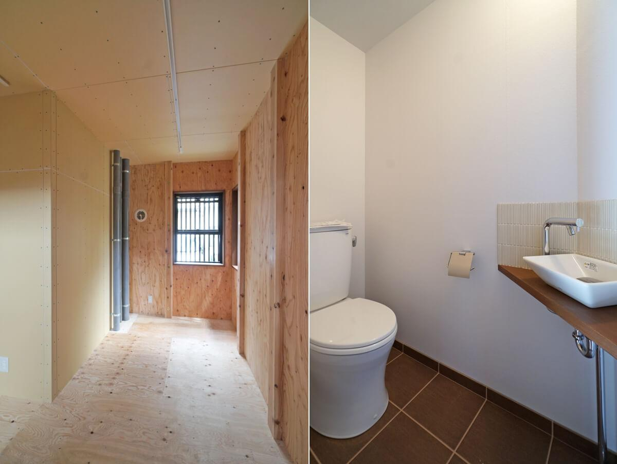 左:このあたりの床下に排水管がきています/右:トイレ