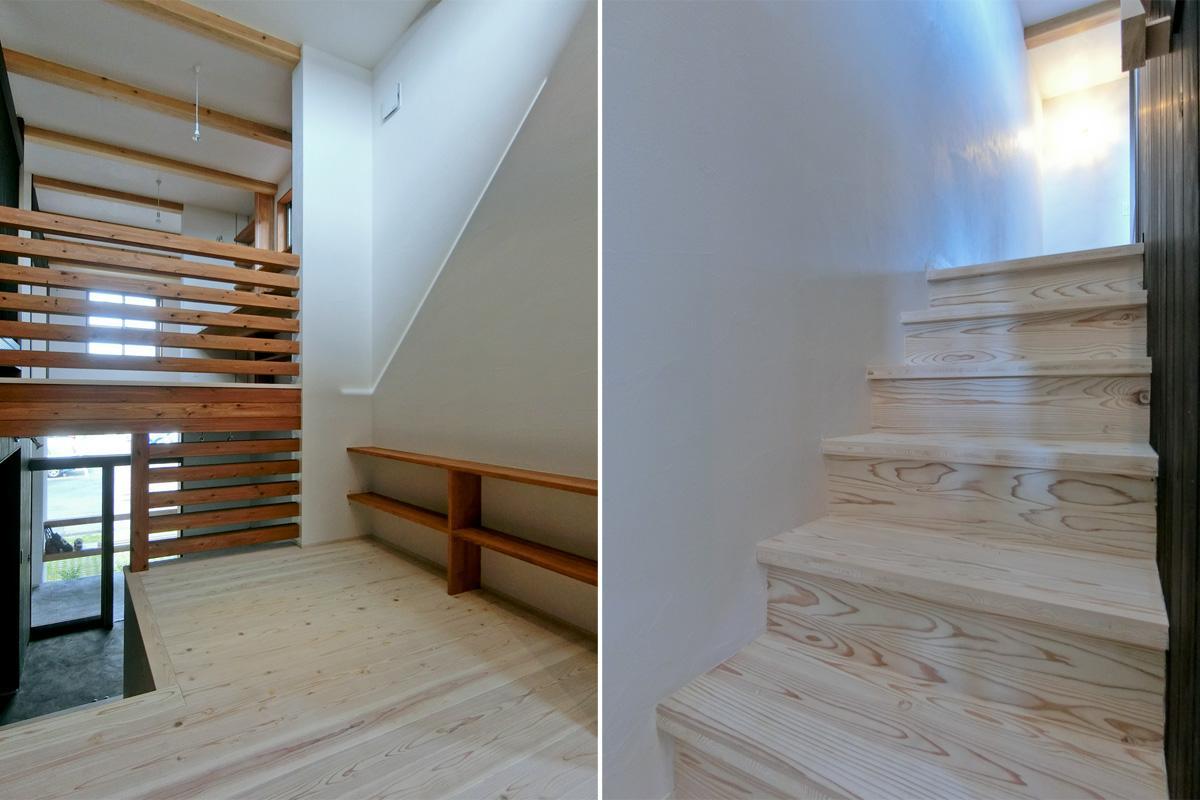 中2階:左:吹き抜け部分 右:階段も無垢