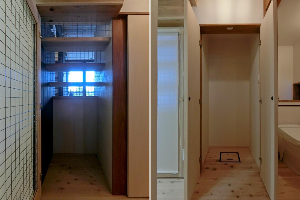 左:階段下は風通しよく 右:収納