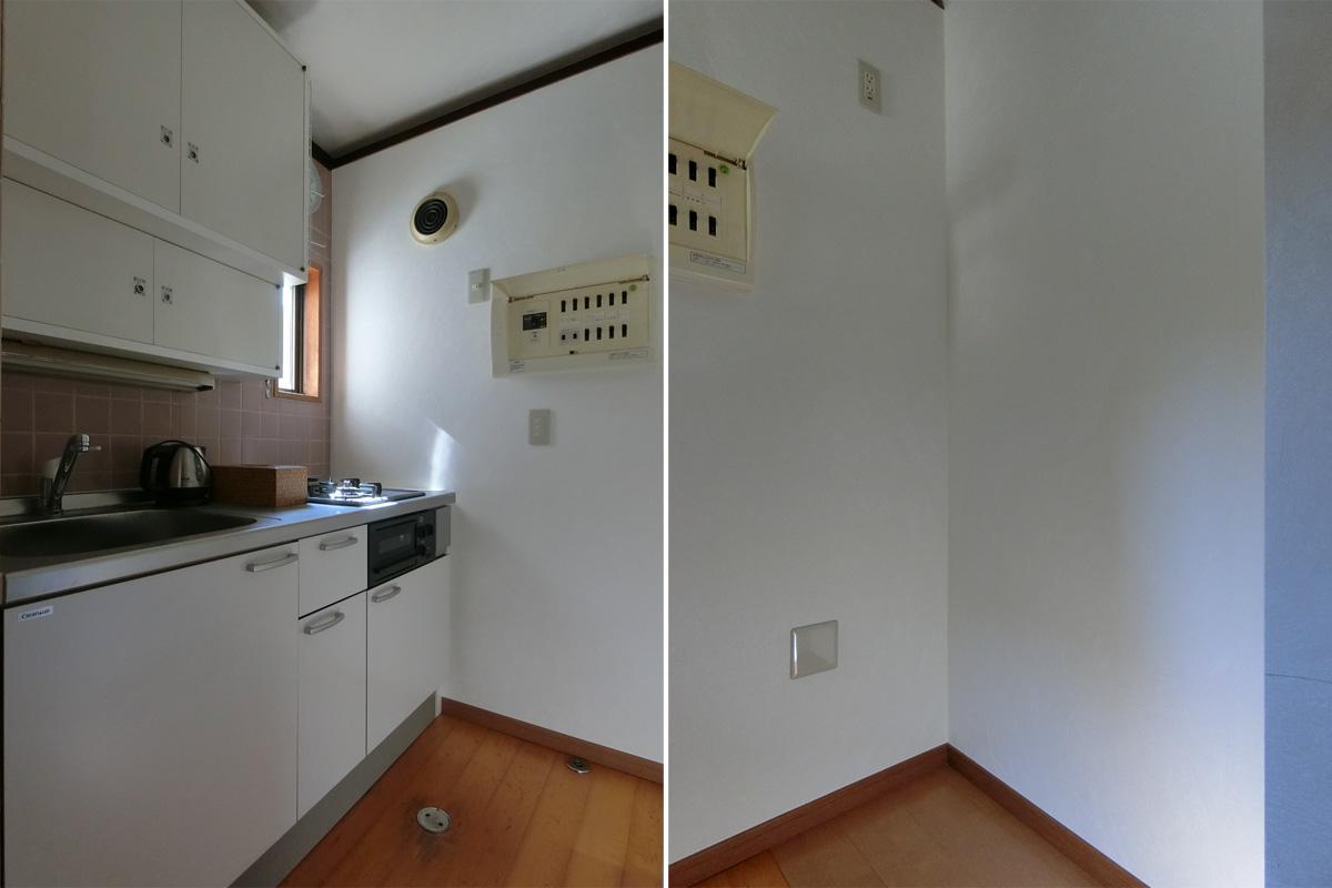 左:コンロは斜め縦の2口 右:冷蔵庫スペース