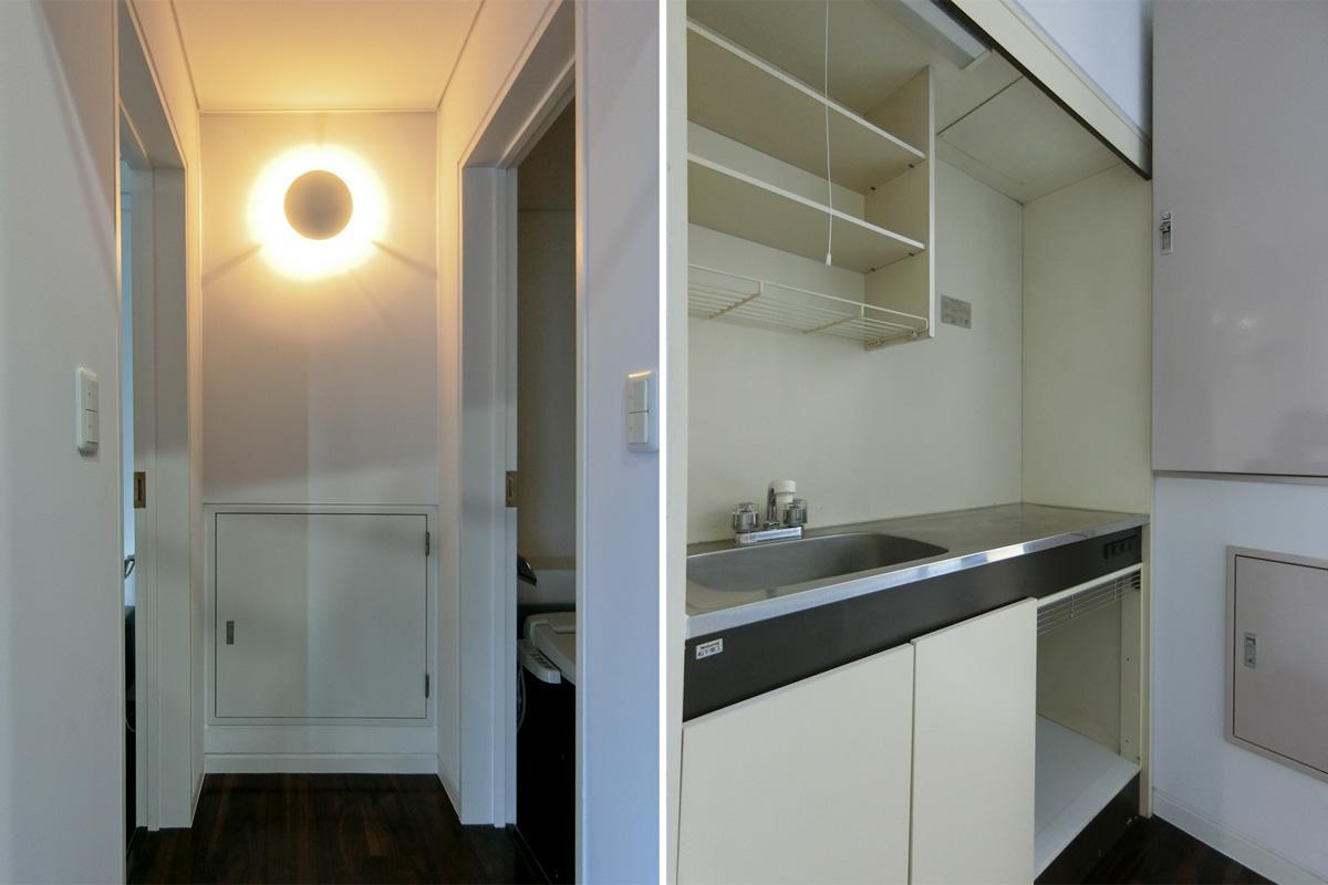 左:トイレ前 右:キッチン