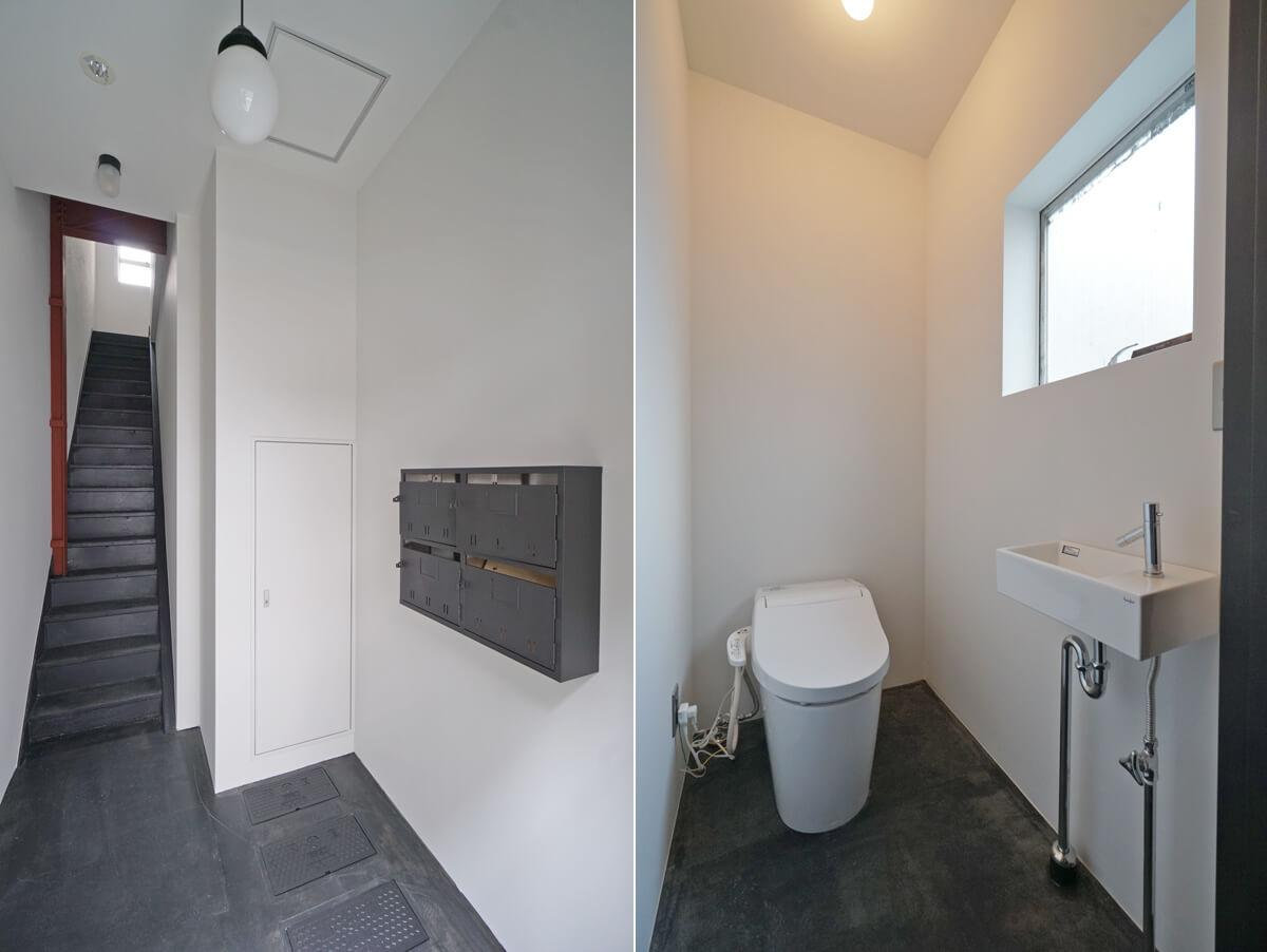 1階ポストはアイアン塗装/2階と3階に共用トイレがあります