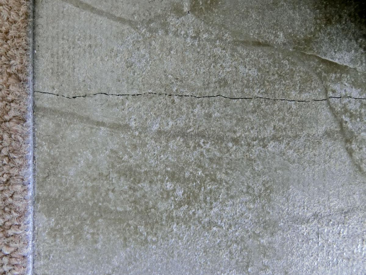 タイルカーペットを剥がすと、モルタルの床がでてくる