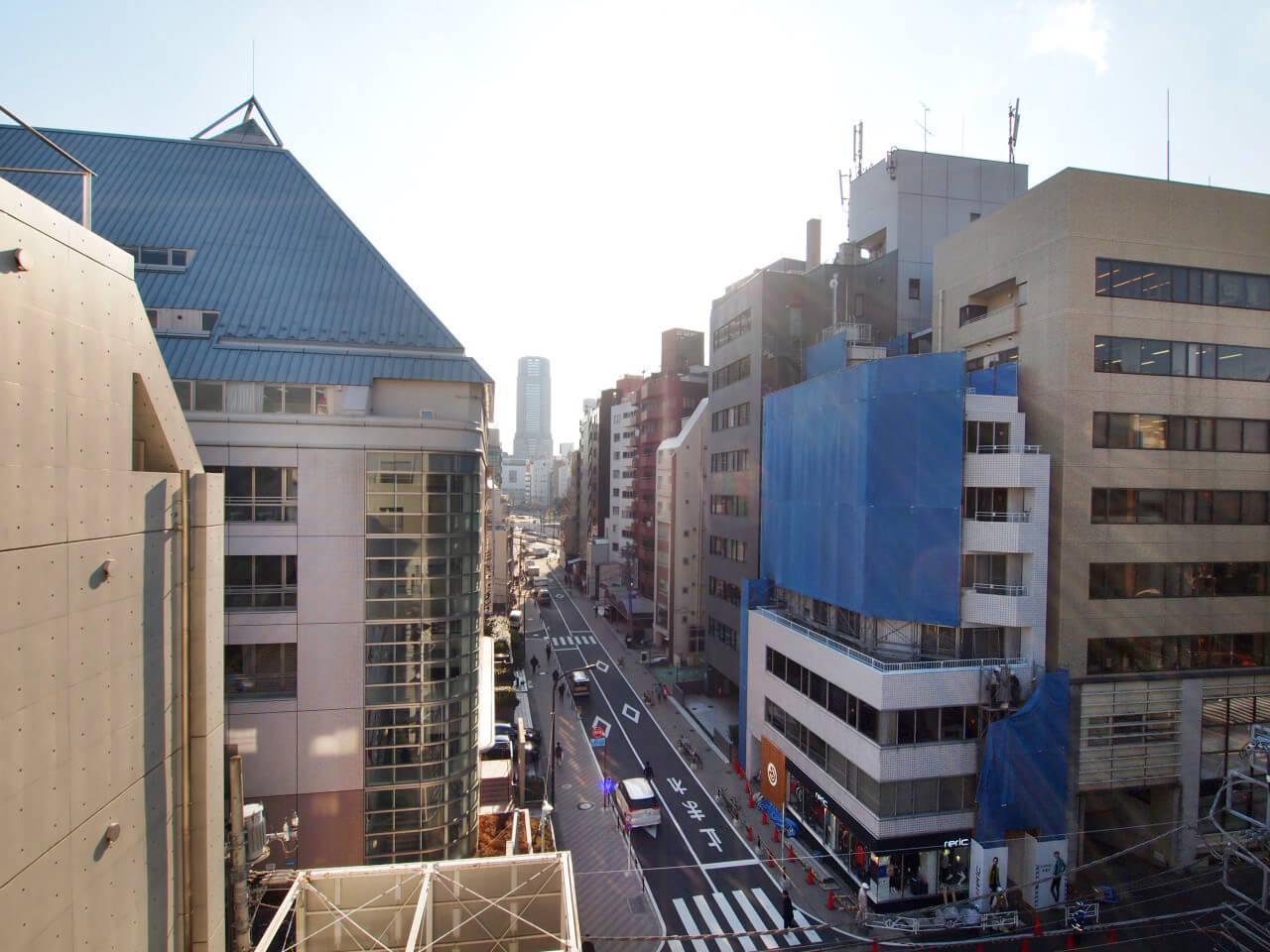 南側の眺望。通りの先に目をやるとセルリアンタワーがニョキっと