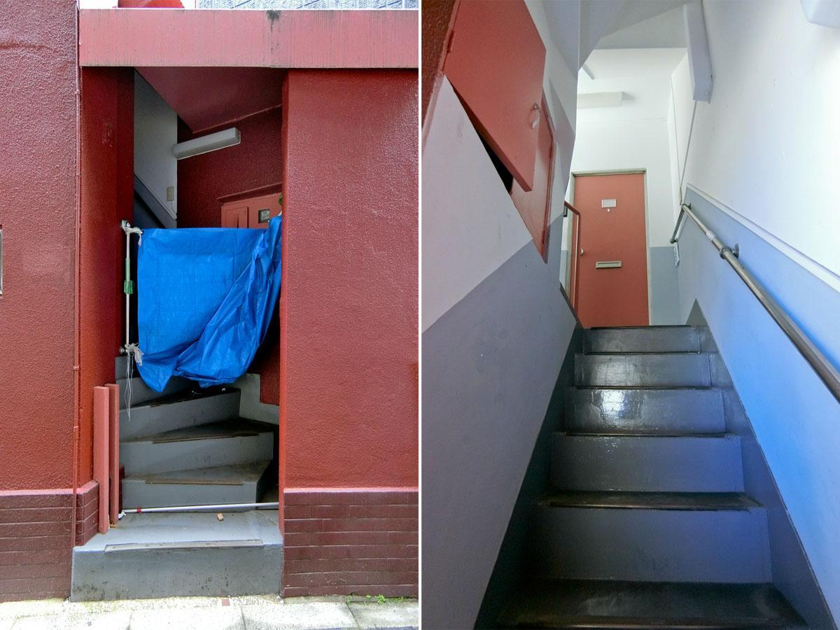 左:脇の階段から2、3階へアクセスできます