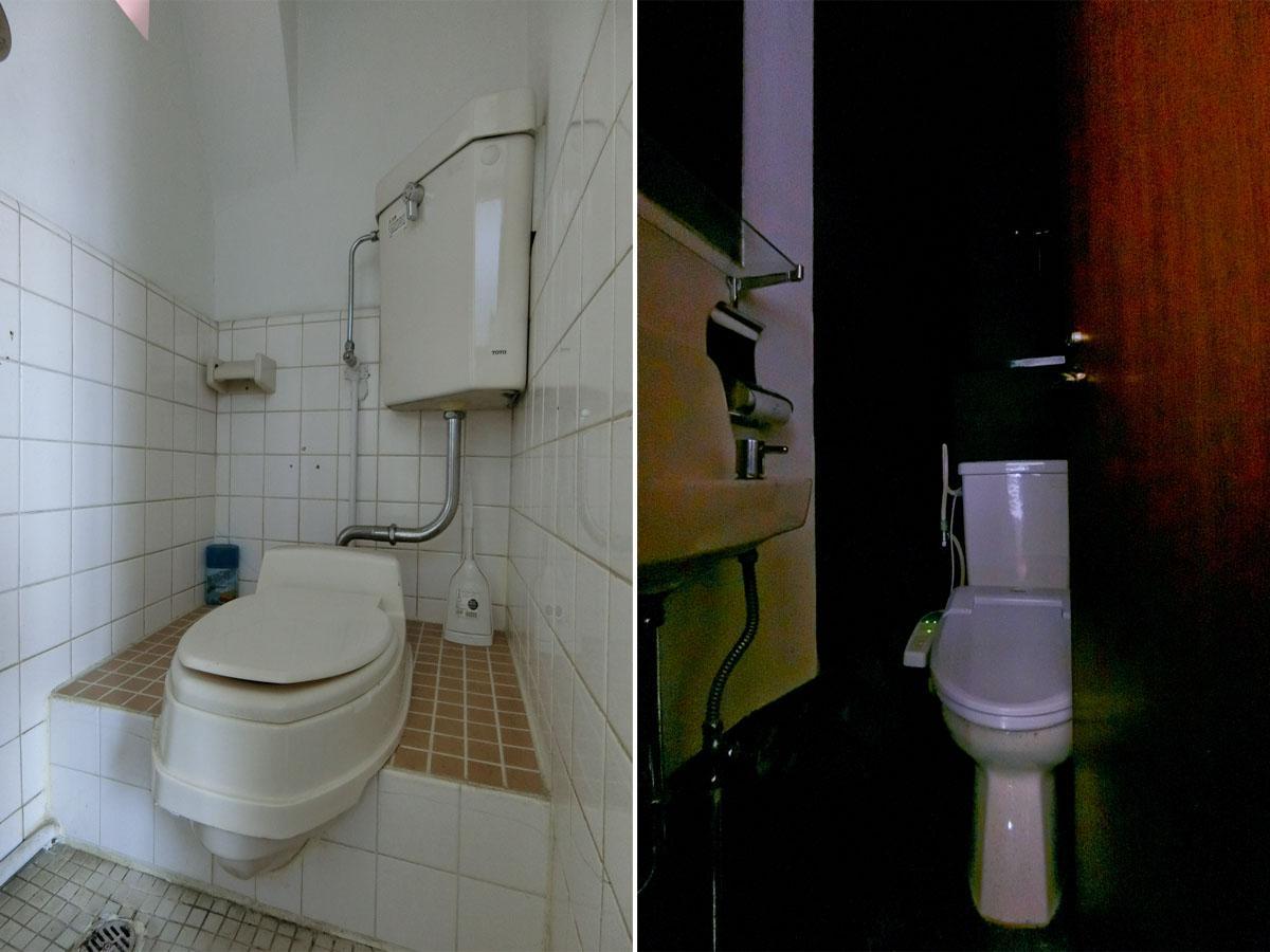 左:2、3階のトイレは和式 右:1階トイレ