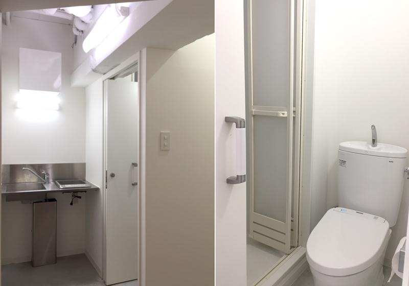 キッチンは1口IHコンロ。トイレの隣にはシャワー室も