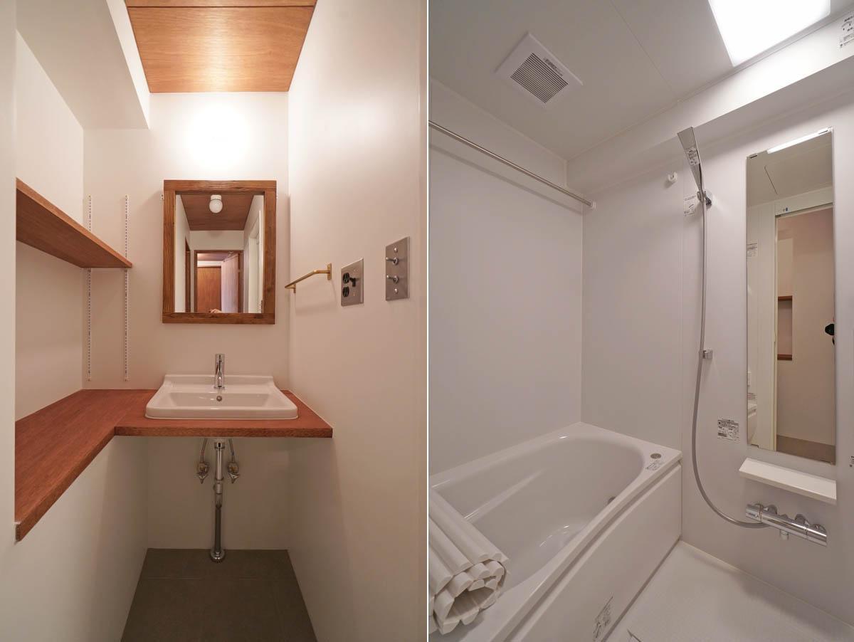 余計なデザインのないシンプルなバスルーム